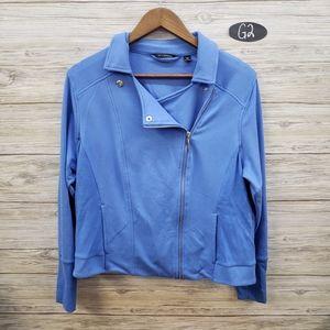 H By Halston Blue Zippered Sweatshirt